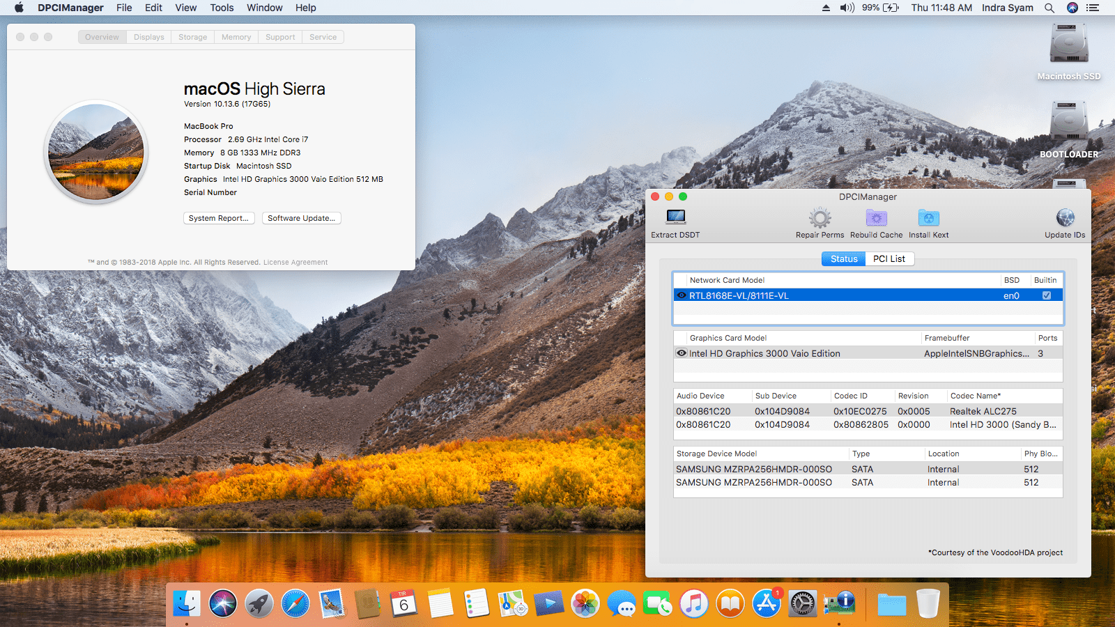 Success Hackintosh macOS High Sierra 10.13.6 Build 17G65 at Sony Vaio VPCZ217GG
